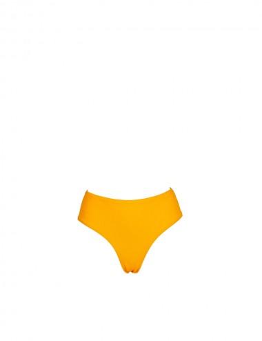 Bas de maillot de bain femme jaune taille haute, culotte échancrée brésilienne