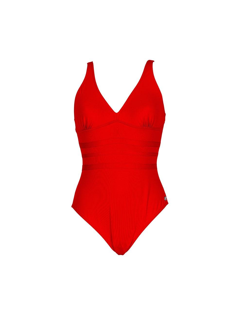 Maillot de bain uni rouge 1...